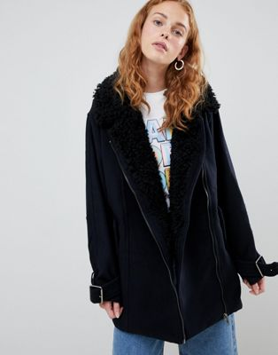 Monki Faux Sherling Coat by Monki