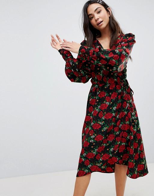 8439677c1 Monki Floral Print Wrap Dress