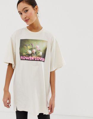 Monki Flower Lover oversized organic cotton t-shirt in beige