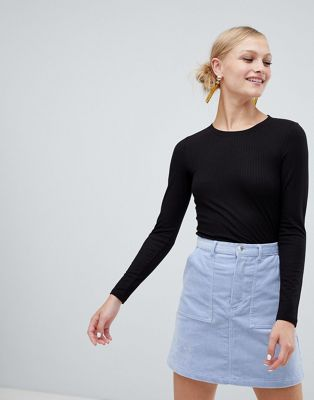 Monki Long Sleeve Soft Touch Jersey Top
