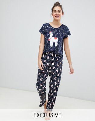 Monki – Marinblått pyjamasset till jul med lamamotiv