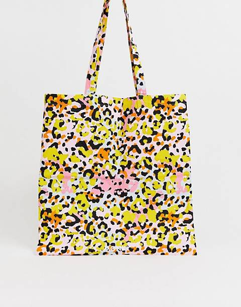 Monki - Maxi borsa in cotone biologico con stampa leopardata multicolore