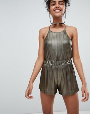 Image 1 of Monki Metallic Shorts Co-Ord