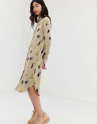 Image 1 of Monki midi shirt dress with face print in beige