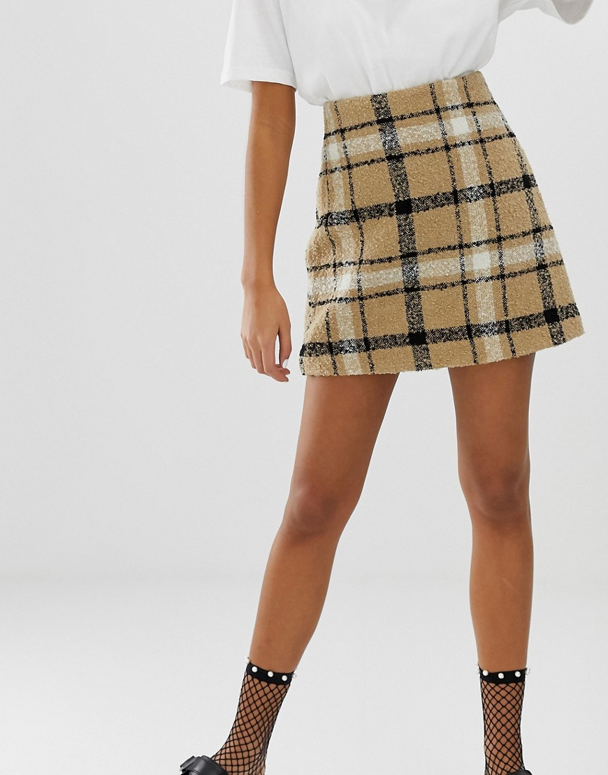 Monki Mini Skirt In Brown Check by Monki