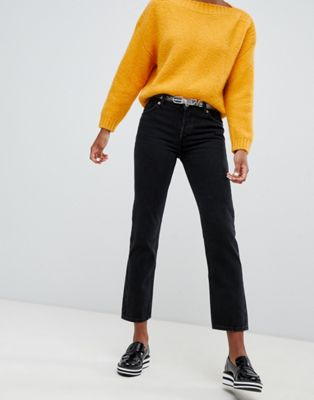 Monki - Mokonoki - Jeans met rechte pijpen en halfhoge taille in zwart