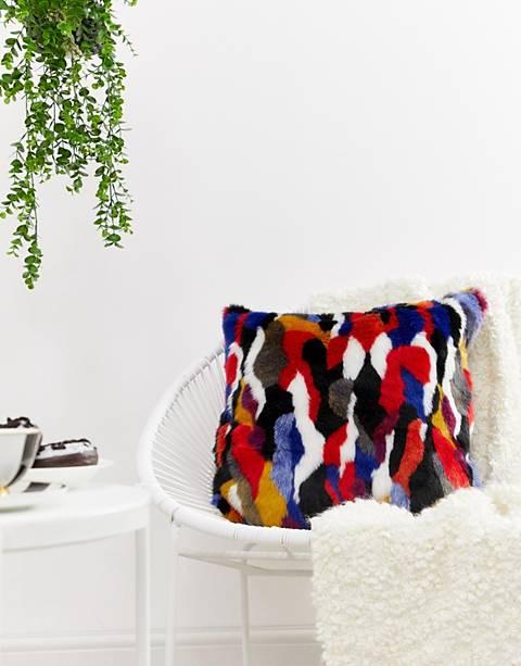 Monki multi color faux fur cushion cover