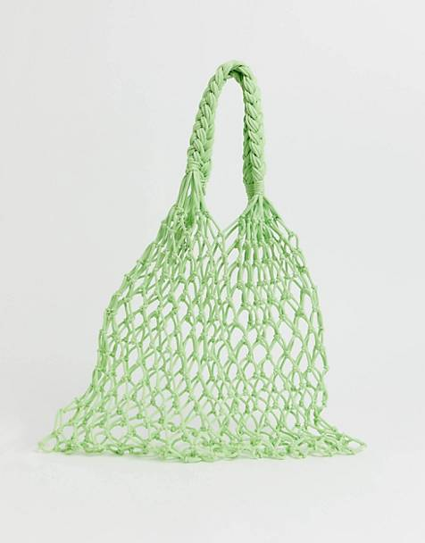 Monki net bag in lime green