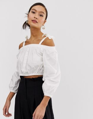 Image 1 of Monki off shoulder crpped blouse in white