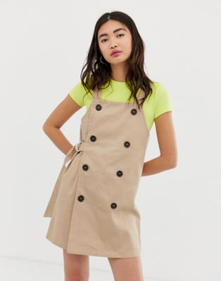 Monki overall dress with sided belt in beige