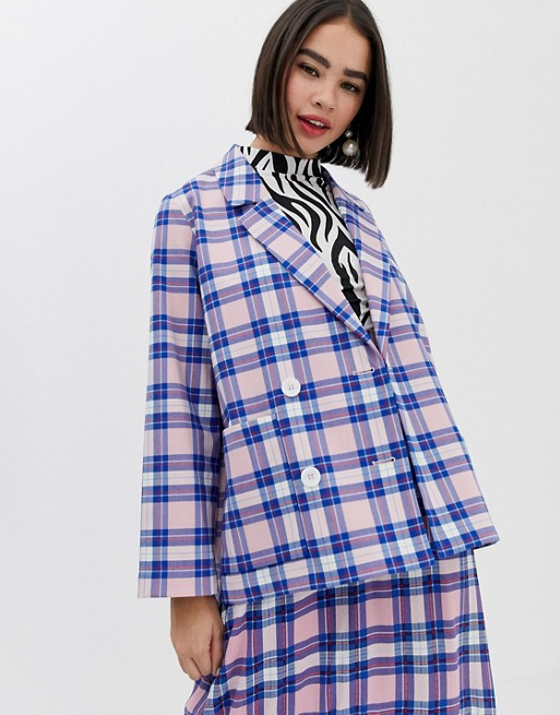 Image 1 of Monki oversized blazer with tartan print in pink