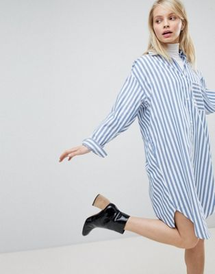 Monki Oversized Striped Shirt Dress
