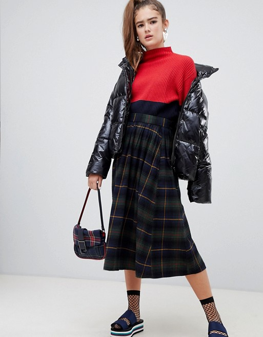 Image 1 of Monki plaid print midi skirt in navy and green