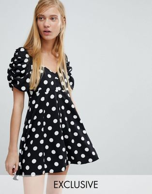 Image 1 of Monki Polka Dot Fit And Flare Dress