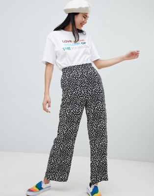 Monki Printed Wide Leg Trousers