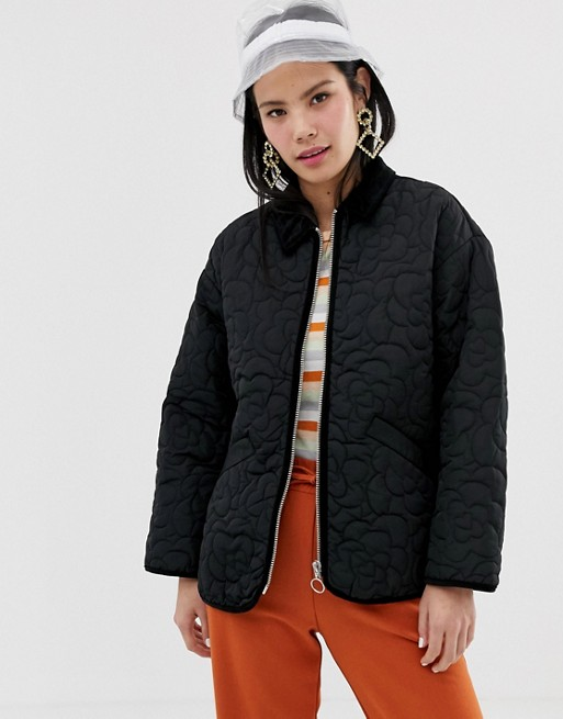 Monki quilted jacket in black