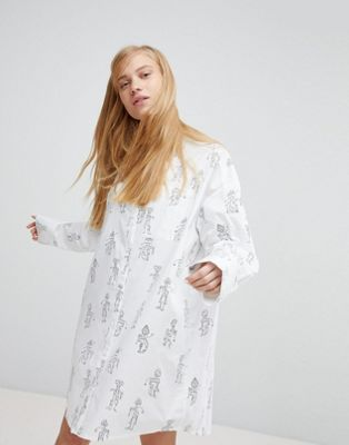 Monki Robot Graphic Print Shirt Dress