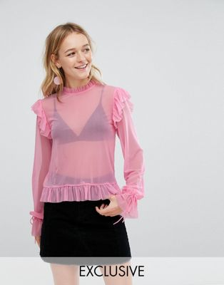 Image 1 of Monki Ruffle Blouse