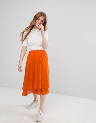 Monki Ruffle Tiered Midi Skirt