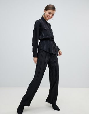 Image 1 of Monki satin stripe wide leg pants in black