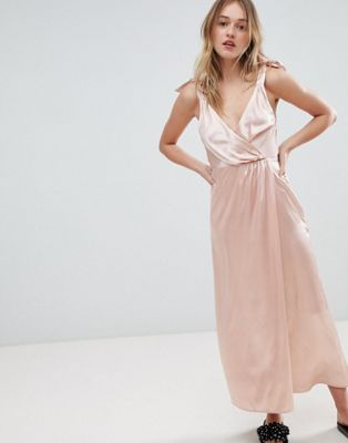 Monki Satin Tie Strap Wrap Maxi Dress