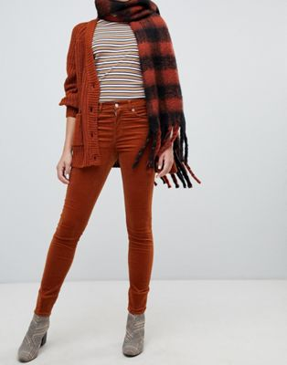 Monki skinny cord trousers in rust