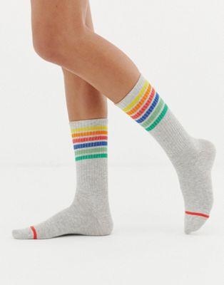 Monki socks with rainbow stripe in gray