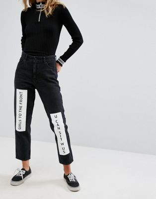 Monki Taiki Badge Mom Jeans