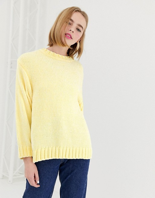Image 1 of Monki textured crew neck sweater in light yellow