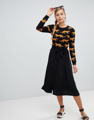 Monki Tie Waist Button Up Midi Skirt