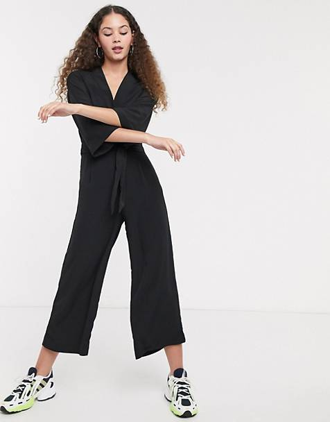 8067bf5be7 Monki tie waist jumpsuit in black