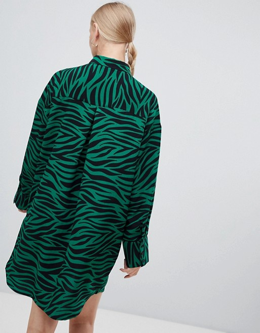 322853872146 Monki tiger print shirt dress in black and green