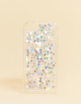 Bild 1 von Monki – Transparente Hülle für iPhone 6/6S/7 mit silberfarbenen Pailletten