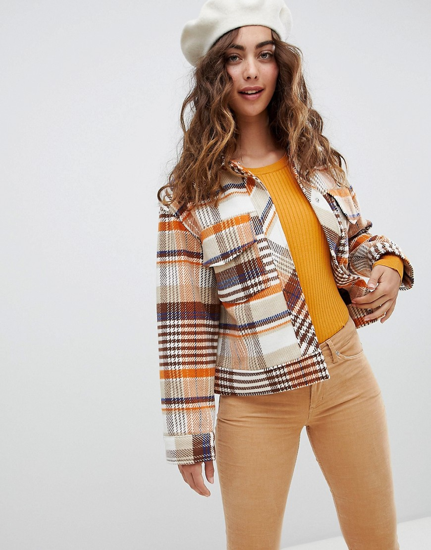 Monki Trucker Jacket In Brown Check Print by Monki