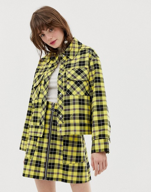 Image 1 of Monki trucker jacket in yellow check