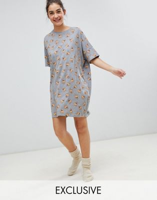 Monki xmas pug print night dress in grey