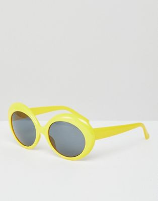 Monki Yellow Retro Sunglasses