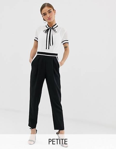Mono largo dos en uno con blusa de chifón y pantalón de sastre con diseño monocromático de Paper Dolls Petite