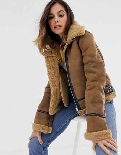 Moon River faux shearling utility bomber jacket
