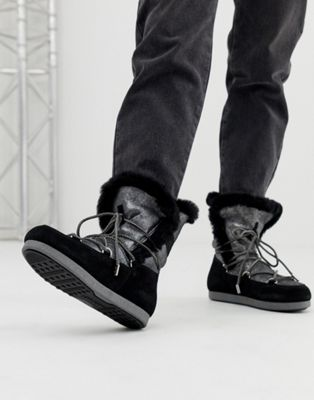 Image 1 of Moonboot High Shearling Snowboots in Silver Black