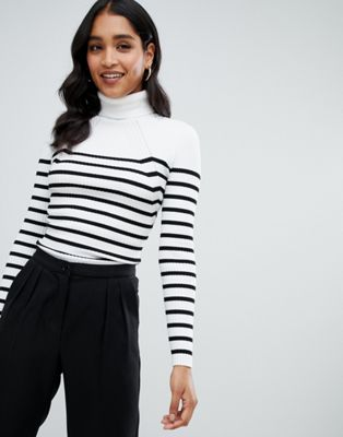 Morgan high neck ribbed jumper in stripe