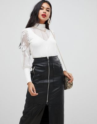 Morgan high neck top with sheer sleeve detail in white