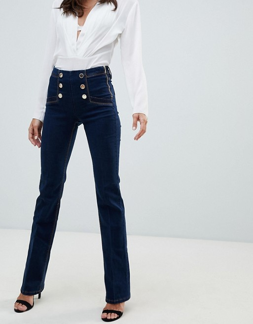 Image 1 of Morgan high waist flare jean with buttons in indigo blue