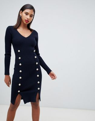 Morgan knitted bodycon dress with button detail in navy