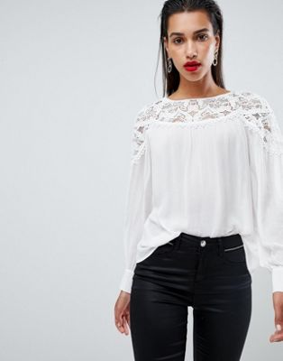 Morgan lace detail blouse