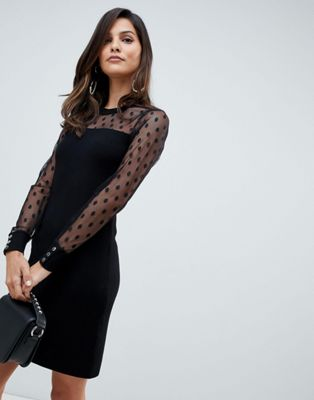 Morgan pencil dress with dotty mesh sleeves in black