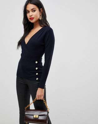 Morgan wrap over top with button detail in navy
