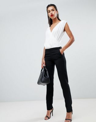 Morgan wrap top contrast jumpsuit