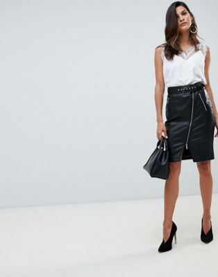 Morgan zip front midi pu pencil skirt in black