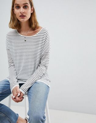 Moss Copenhagen Oversized Long Sleeve Top In Stripe